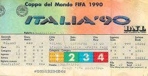 Il biglietto per la partita inaugurale dei Mondiali di Calcio di Italia '90